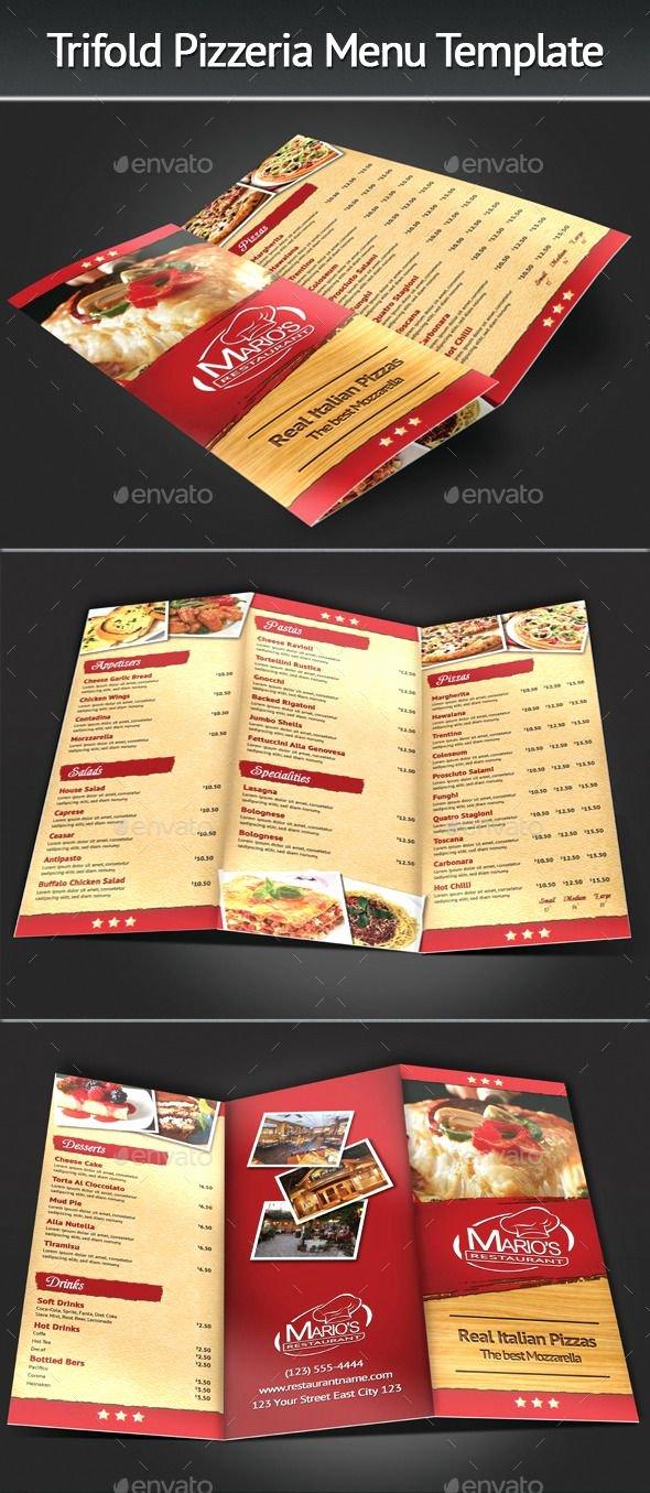 Trifold Menu Template Free Best Of Trifold Pizzeria Menu Template