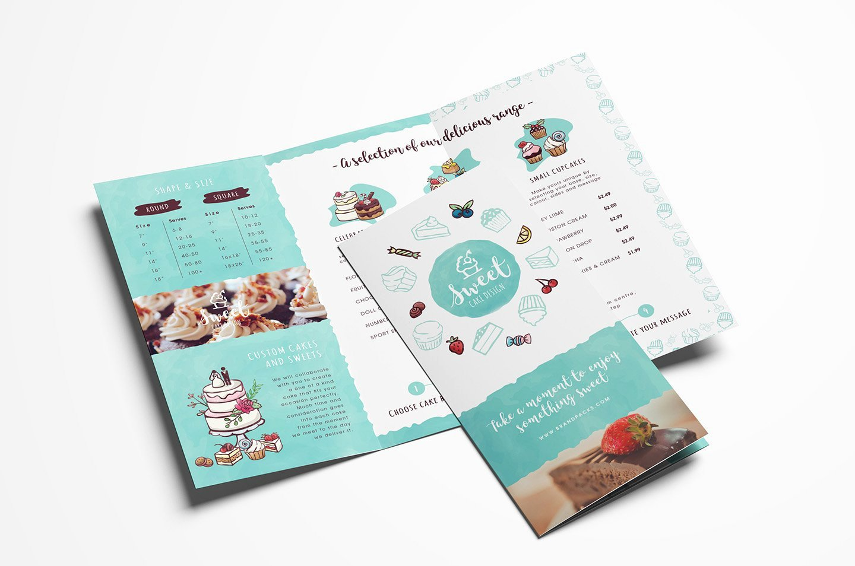 Trifold Menu Template Free Fresh Cake Shop Trifold Brochure Template Brochure Templates