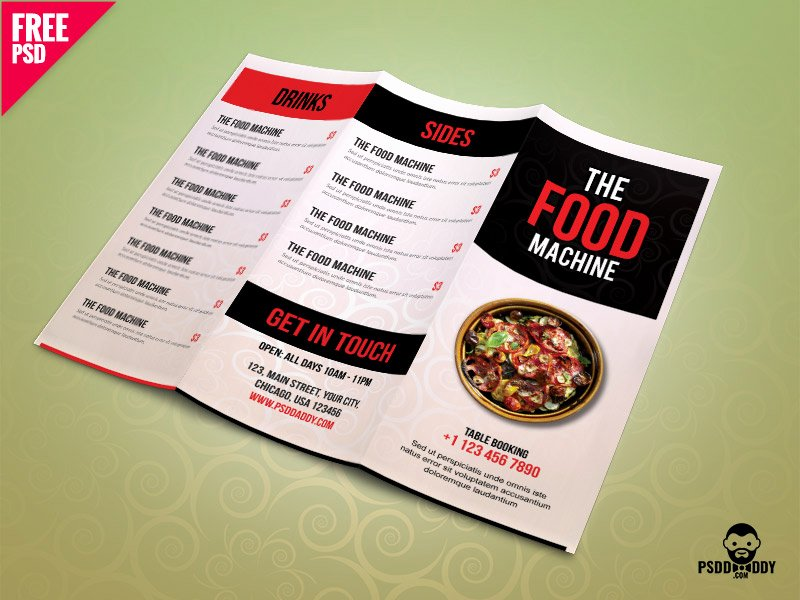 Trifold Menu Template Free Fresh Restaurant Menu Trifold Brochure Psd Template by Free