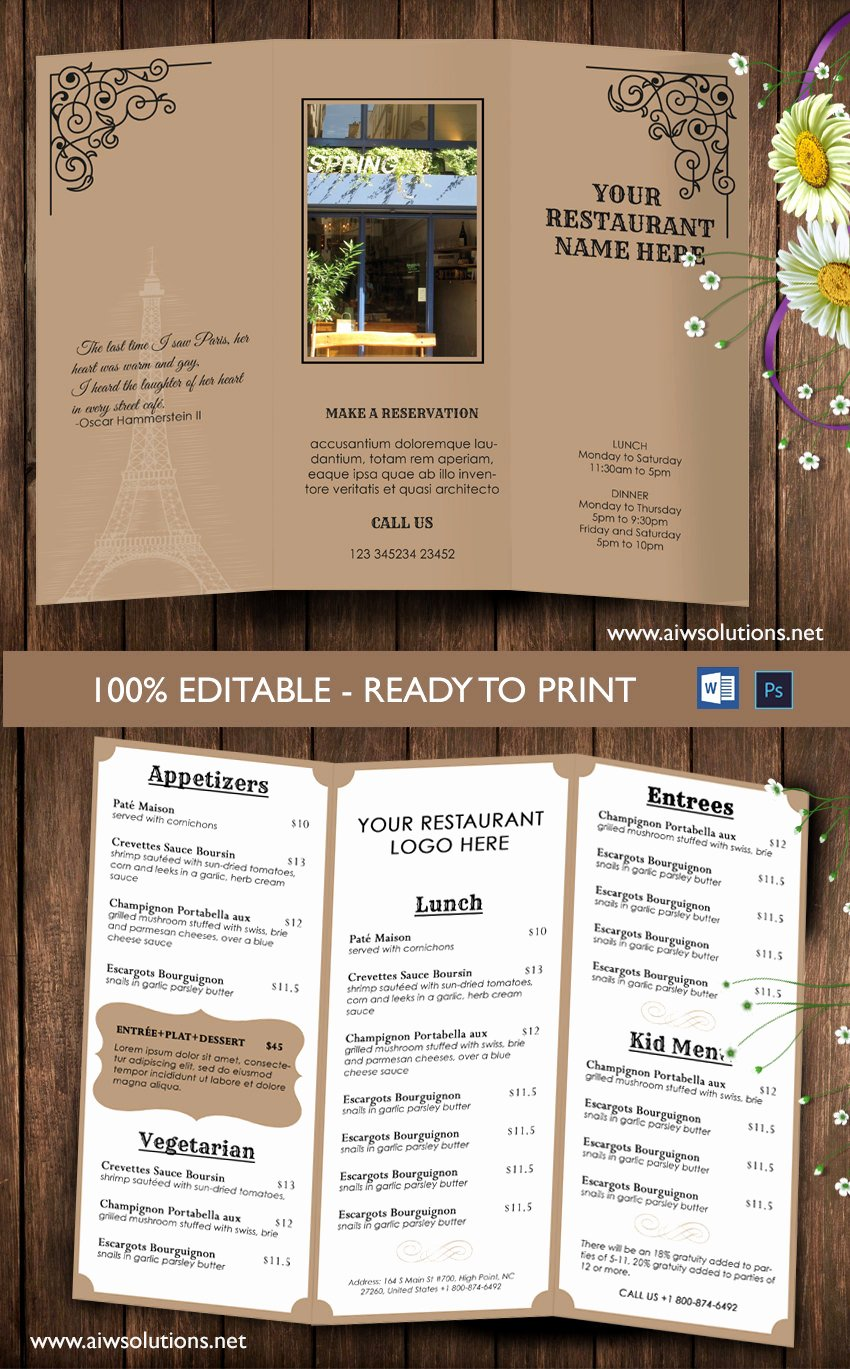Trifold Menu Template Free Lovely Design & Templates Tri Fold Take Out Menu Menu Templates
