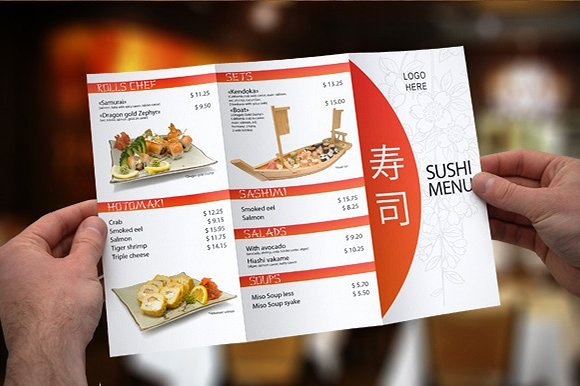Trifold Menu Template Free Lovely Tri Fold Sushi Menu Template Brochure Templates