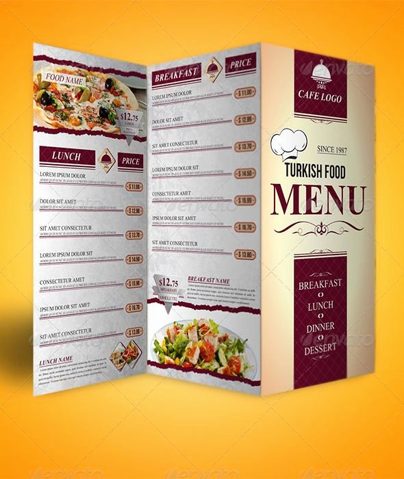 Trifold Menu Template Free Lovely Trifold Menu Template Food Menus