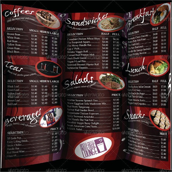 Trifold Menu Template Free Luxury 20 Coffee Menu Templates – Free Sample Example format