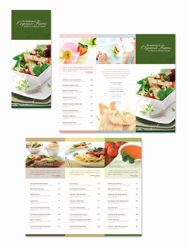 Trifold Menu Template Free Luxury organic Restaurant Tri Fold Menu Template