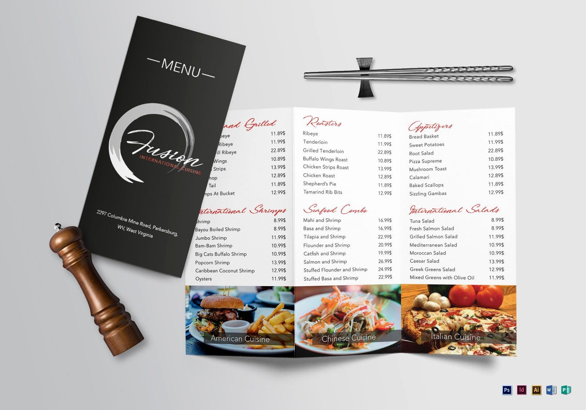 Trifold Menu Template Free New Cuisine Tri Fold Menu Design Template In Psd Word