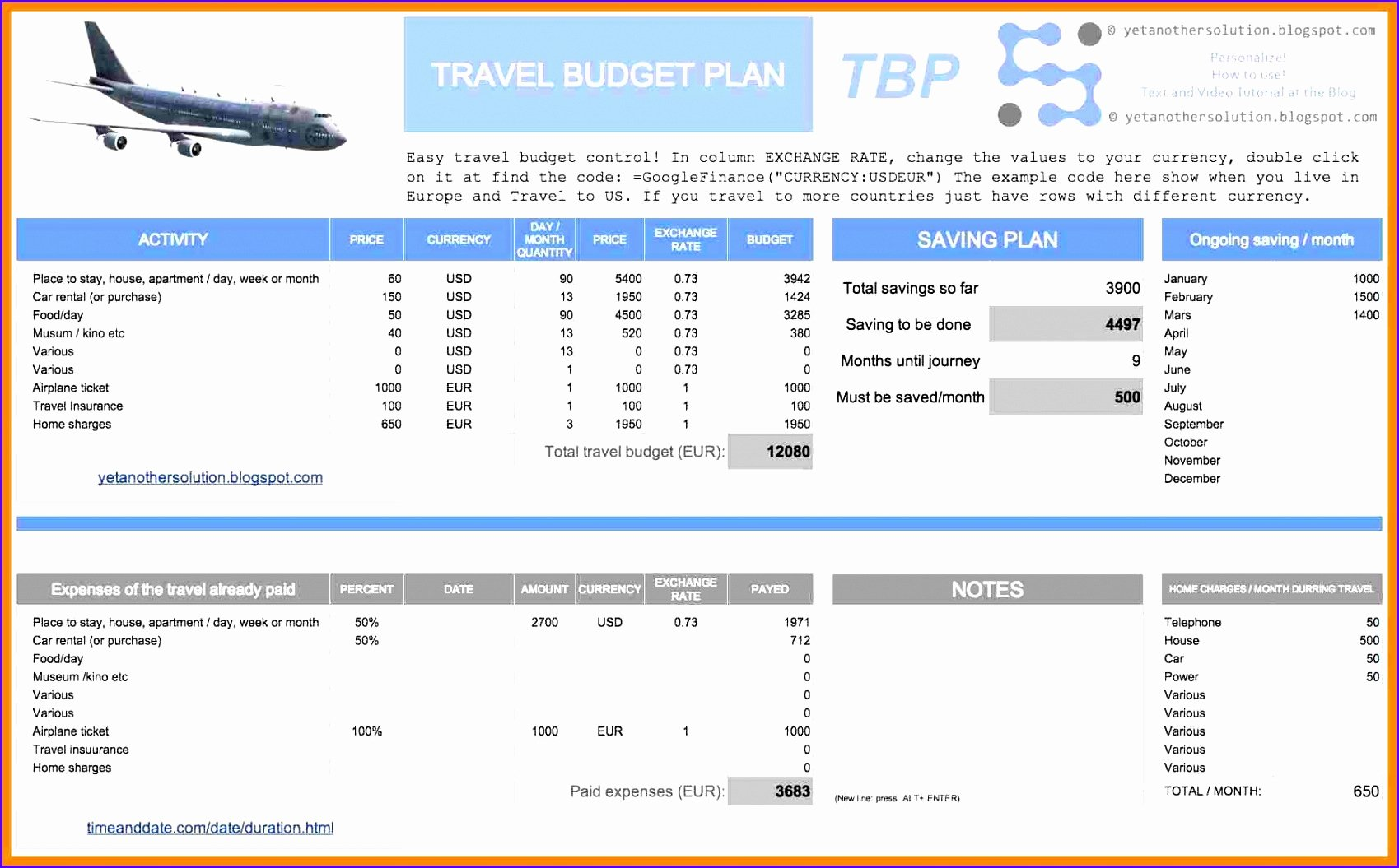 Trip Planner Template Excel Awesome 5 Trip Planner Template Excel Exceltemplates