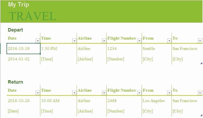 Trip Planner Template Excel Fresh Trip Planner