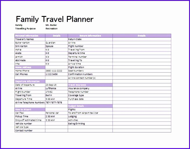 Trip Planner Template Excel Inspirational 6 Excel Holiday Planner Template Exceltemplates
