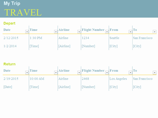 Trip Planner Template Excel New Planners and Trackers Fice