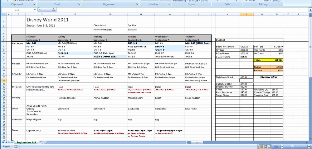 Trip Planner Template Excel Unique Blank Itinerary Planner