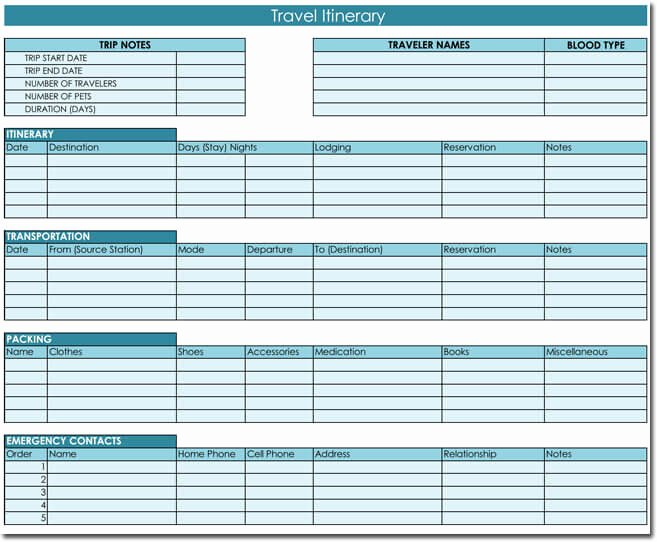 Trip Planner Template Excel Unique Free Itinerary Templates to Perfectly Plan Your Trips