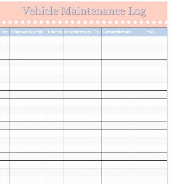 Truck Maintenance Log Template Elegant Printable Vehicle Maintenance Log Template Excel Template