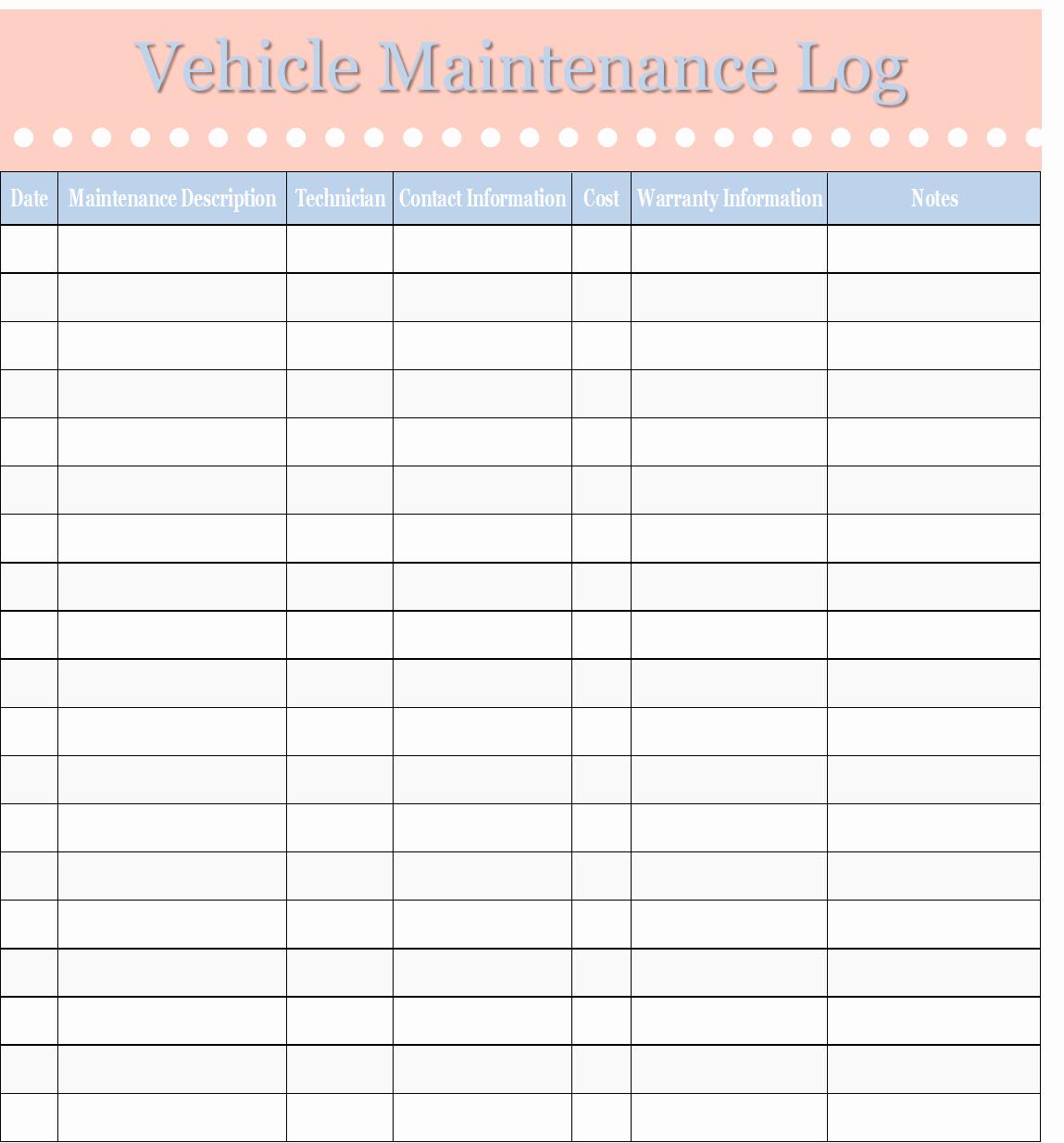 Truck Maintenance Log Template Elegant Template Vehicle Maintenance Log