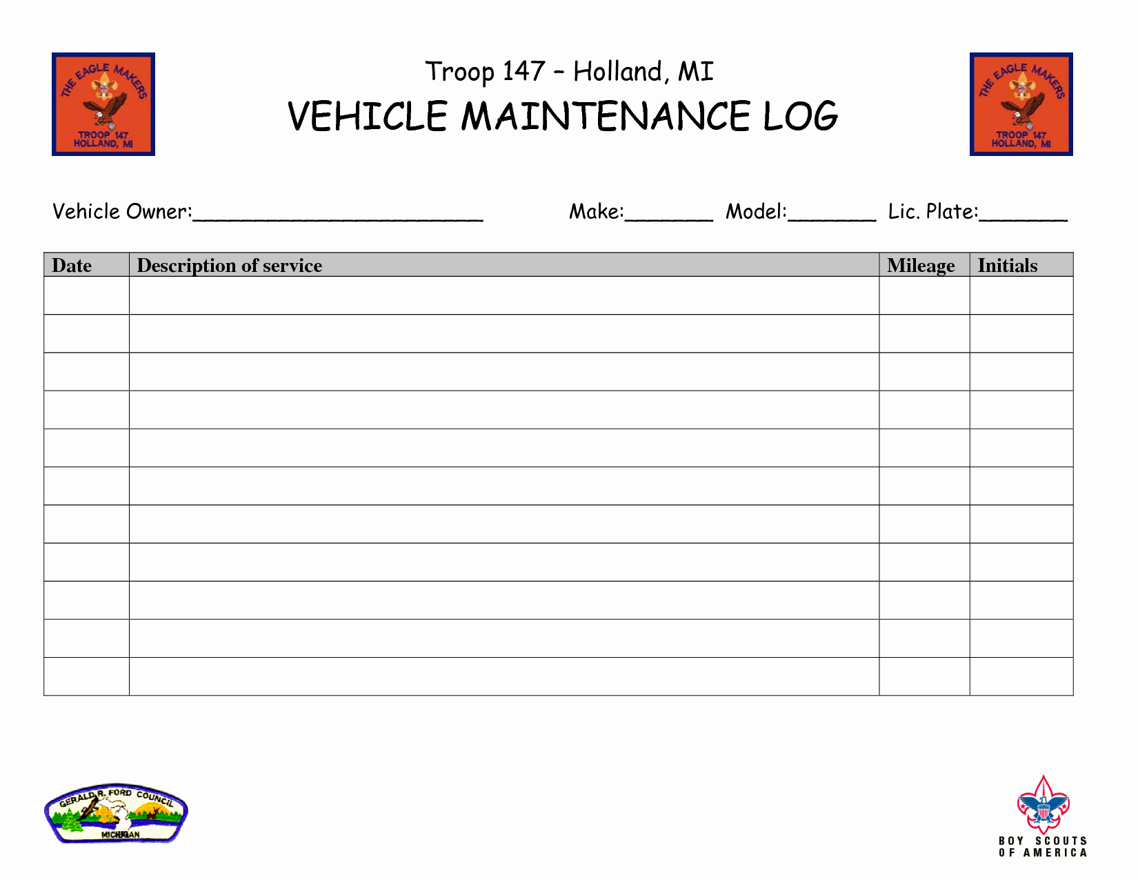 Truck Maintenance Log Template Inspirational Vehicle Maintenance Log Book Template Ewolf