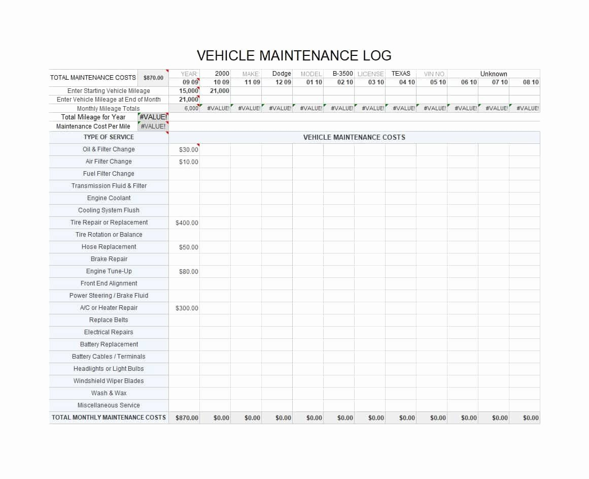 Truck Maintenance Log Template New 40 Printable Vehicle Maintenance Log Templates Template Lab