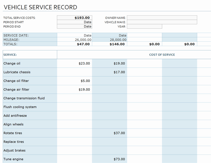 Truck Maintenance Log Template Unique Vehicle Service Record