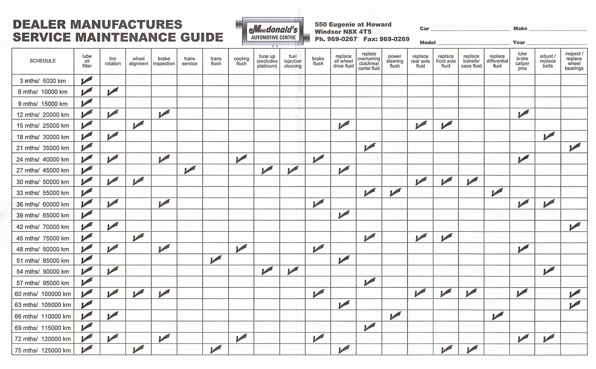 Truck Maintenance Schedule Template Best Of Maintenance Schedule Template