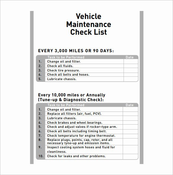 Truck Maintenance Schedule Template Best Of Vehicle Maintenance Schedule Templates 10 Free Word