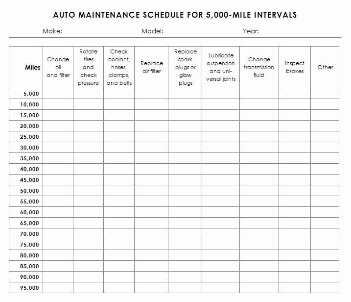 Truck Maintenance Schedule Template Elegant Auto Maintenance Schedule Template Sample