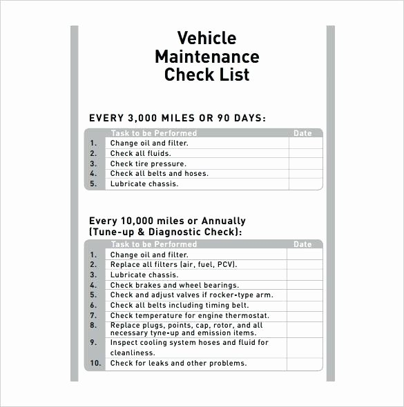 Truck Maintenance Schedule Template Fresh Car Maintenance Checklist form Monthly Vehicle forms