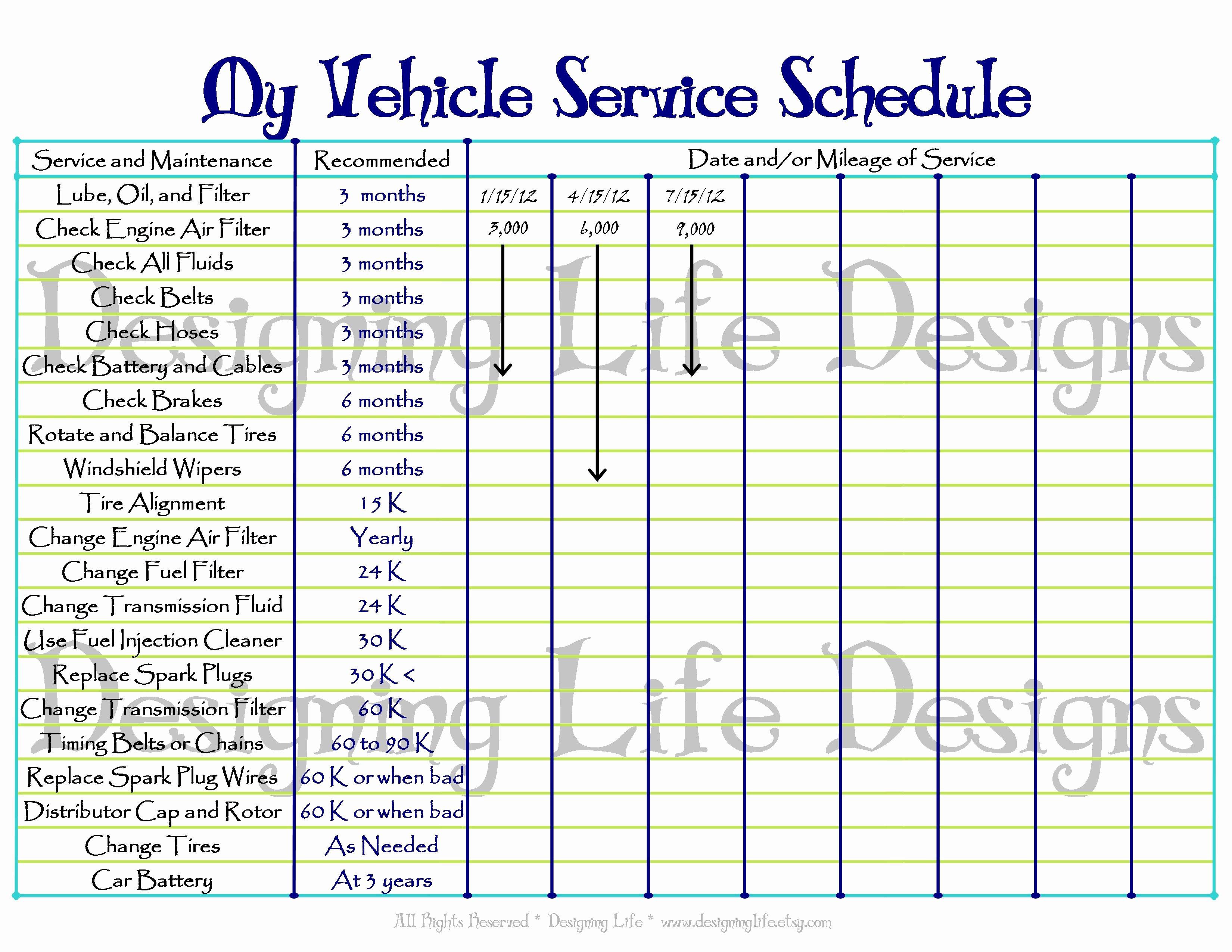 Truck Maintenance Schedule Template Fresh Car Maintenance Mileage Checklist
