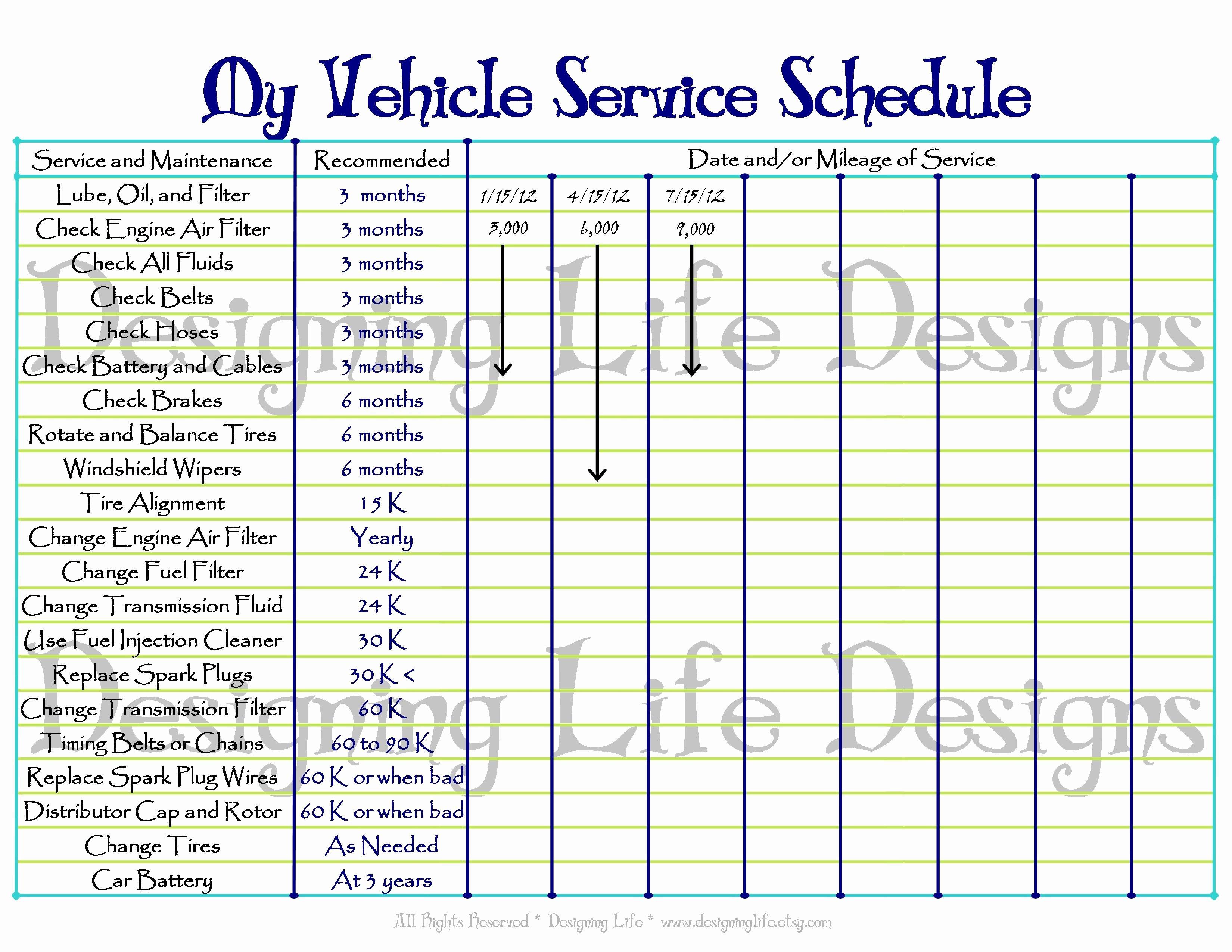 Truck Maintenance Schedule Template Unique Printable Vehicle Maintenance Log Template