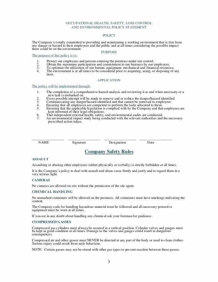 Trucking Company Safety Policy Template Fresh Health and Safety Plan Generic