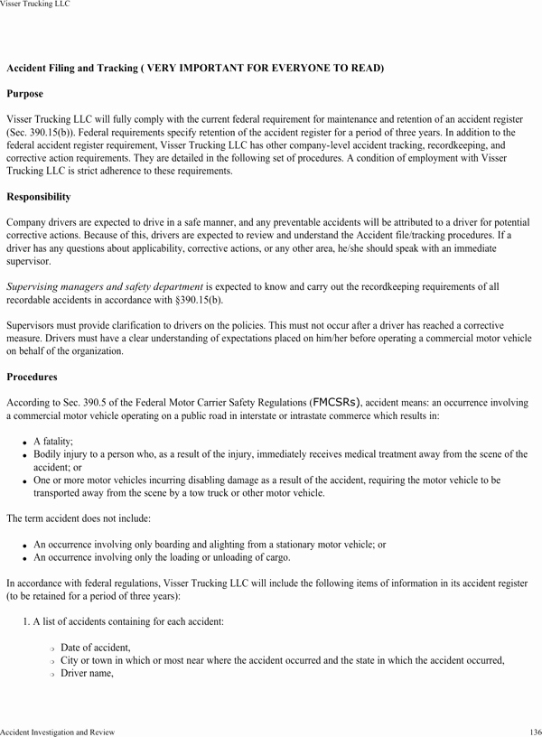 Trucking Company Safety Policy Template Inspirational Download Visser Trucking Pany Safety Policy Template