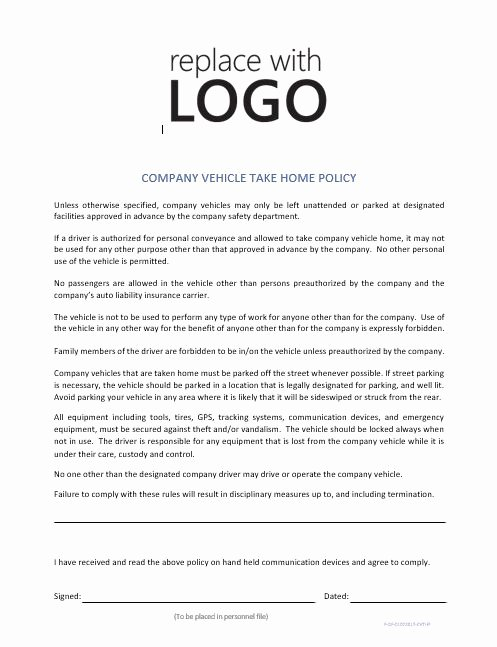 Trucking Company Safety Policy Template Inspirational Pany Vehicle Take Home Policy – Cr Service Pany