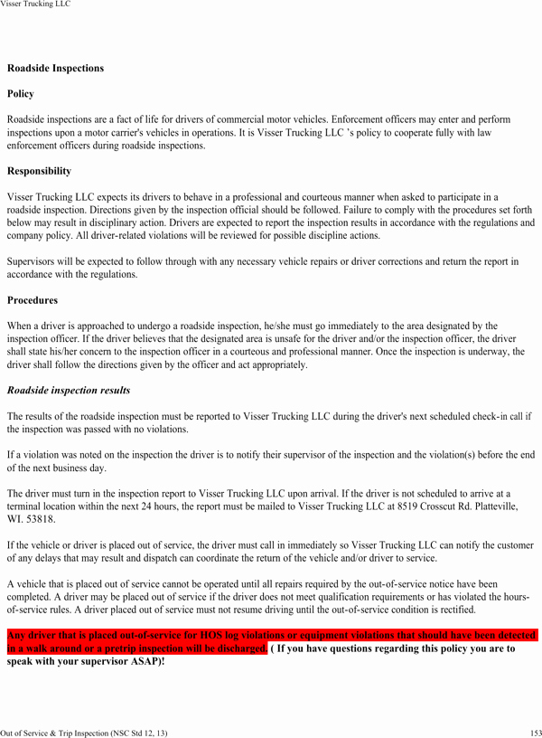 Trucking Company Safety Policy Template Lovely Download Visser Trucking Pany Safety Policy Template