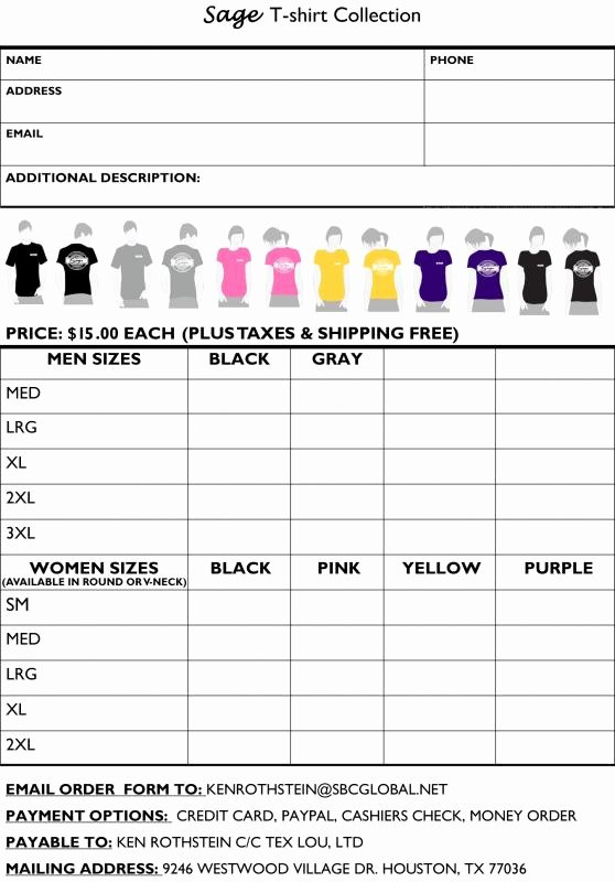 Tshirt order form Template Best Of Tshirt order form Template