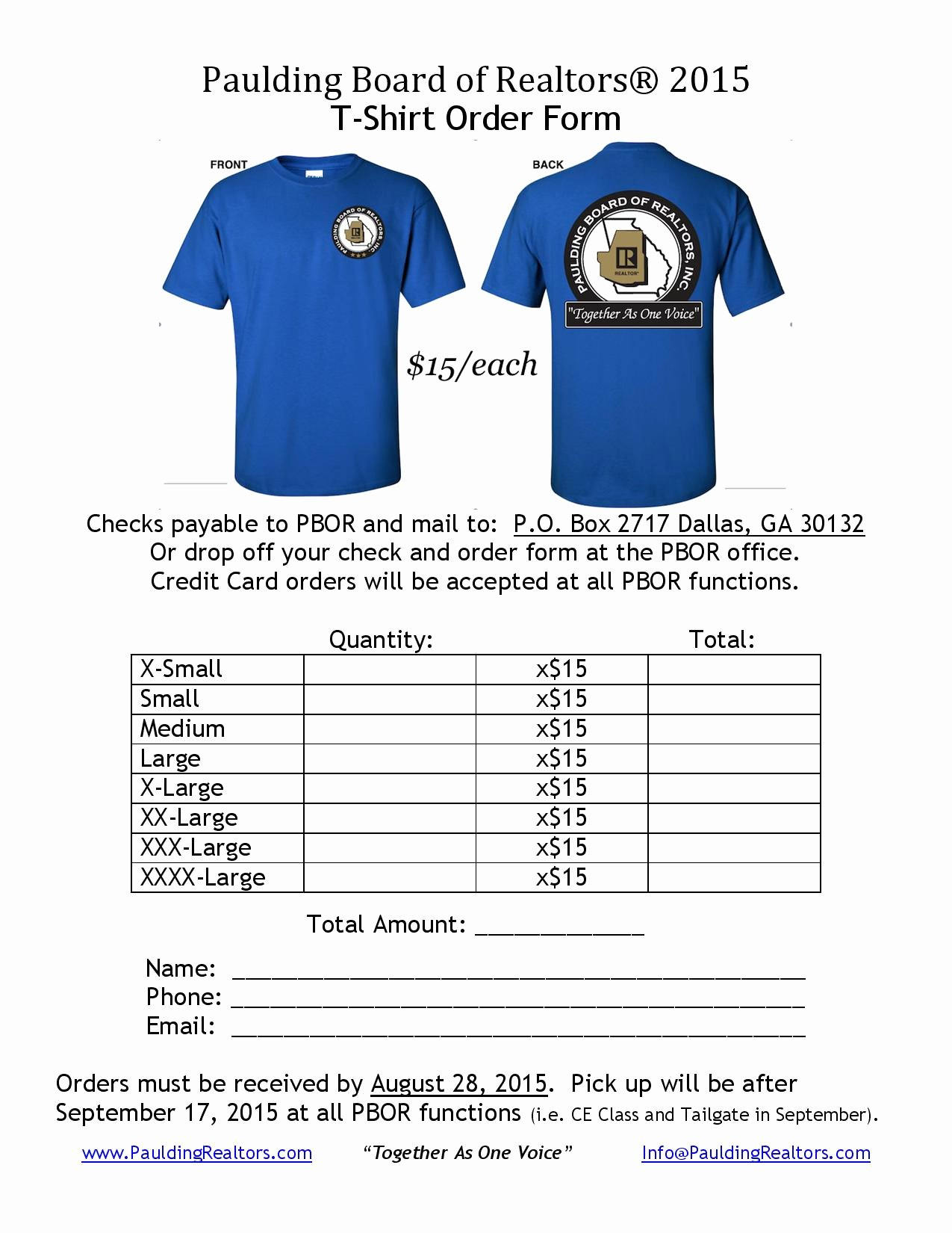 "Tshirt order form Template Best Of Wel E to the Paulding Board Realtors — ""to Her as"