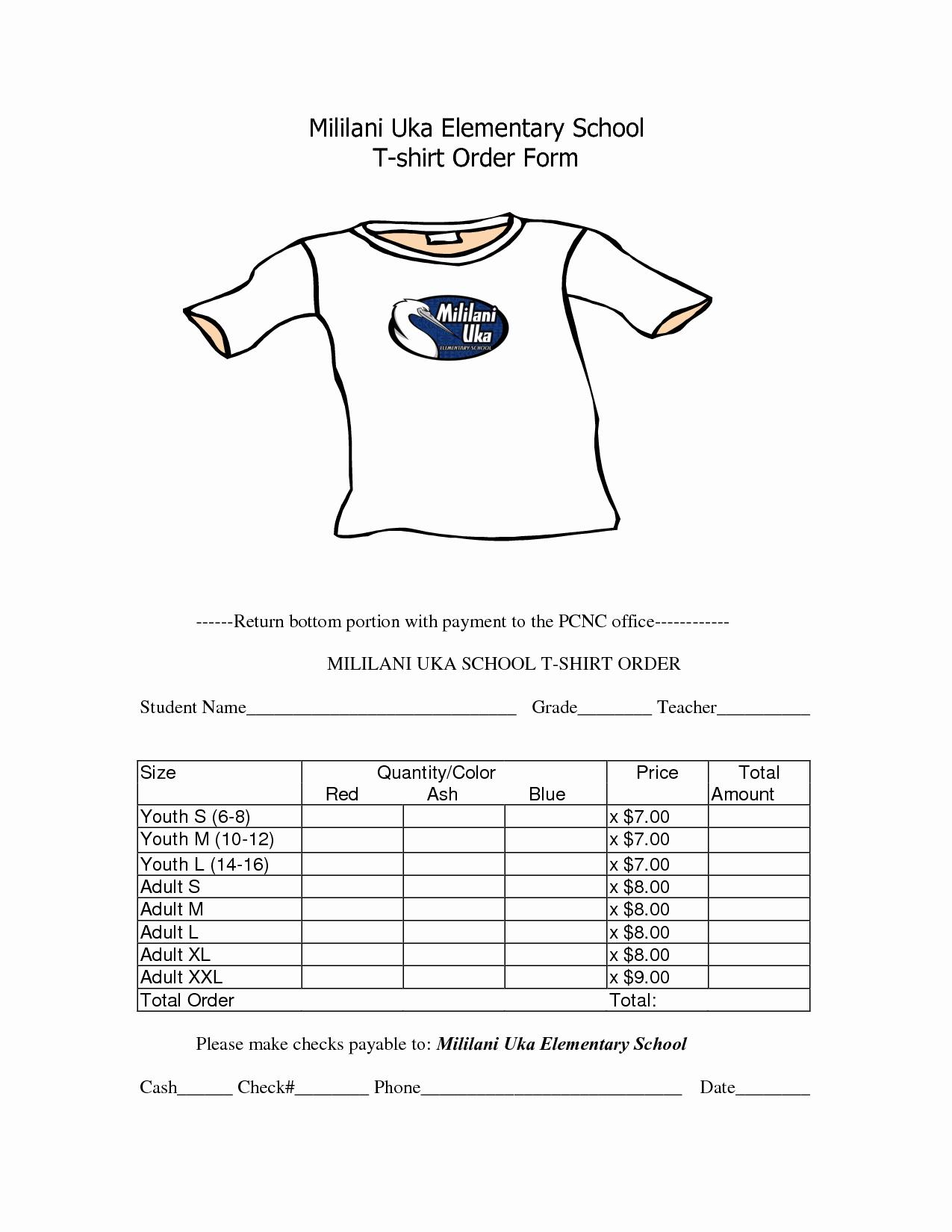 Tshirt order form Template Inspirational School T Shirt order form Template Clothes