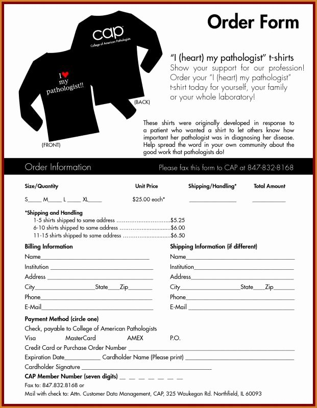 Tshirt order form Template Lovely T Shirt order form Template