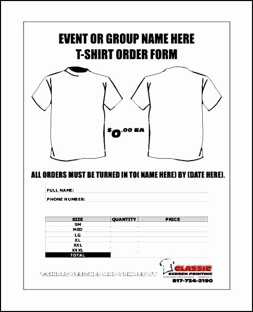 Tshirt order form Template Luxury Free T Shirt order forms Templates Word