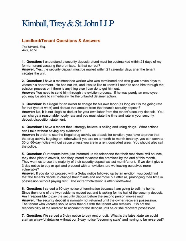 Unauthorized Tenant Letter Template Inspirational Kts Monthly Legal Updates Landlord Tenant Questions