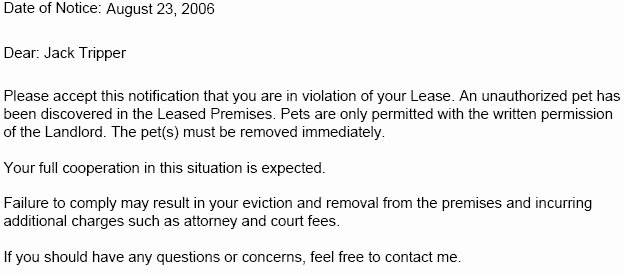 Unauthorized Tenant Letter Template Inspirational Lease Violation Notice – Tenant Violation Notices