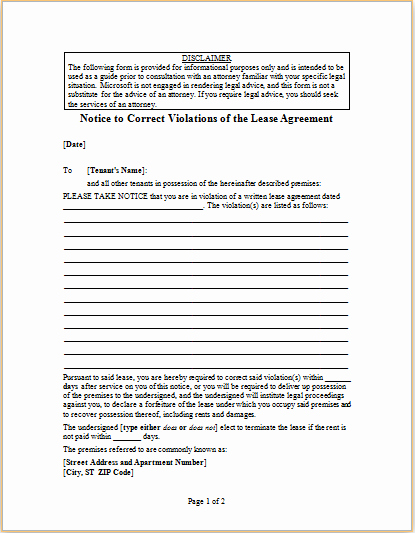 Unauthorized Tenant Letter Template Inspirational Letter to Correct Violations Of Lease Agreement
