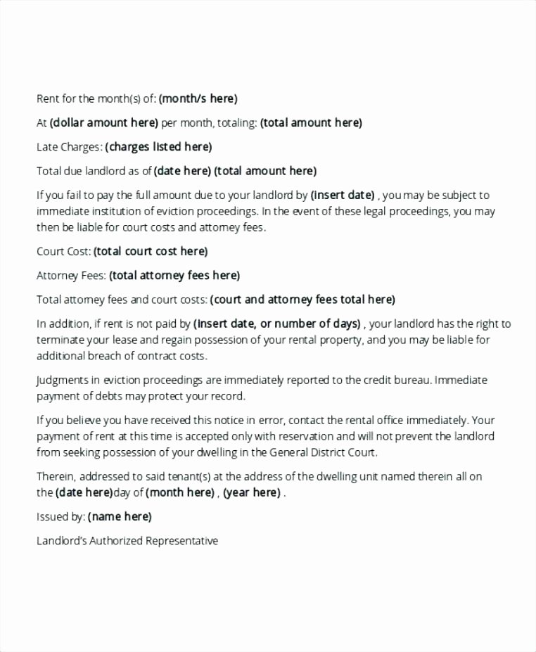 Unauthorized Tenant Letter Template Lovely Late Rent Sample Letter 34 Printable Late Rent Notice