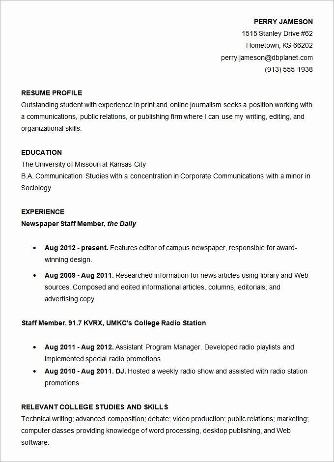 Undergraduate Resume Template Word Elegant Microsoft Word Resume Template 49 Free Samples