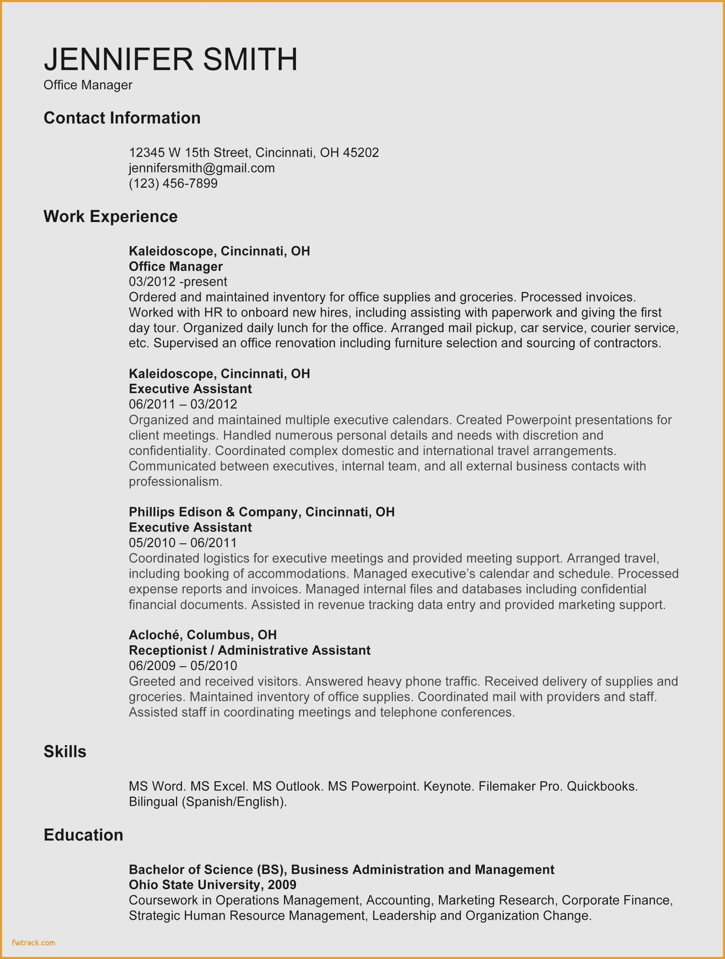 Undergraduate Resume Template Word Fresh Resume for College Student Template