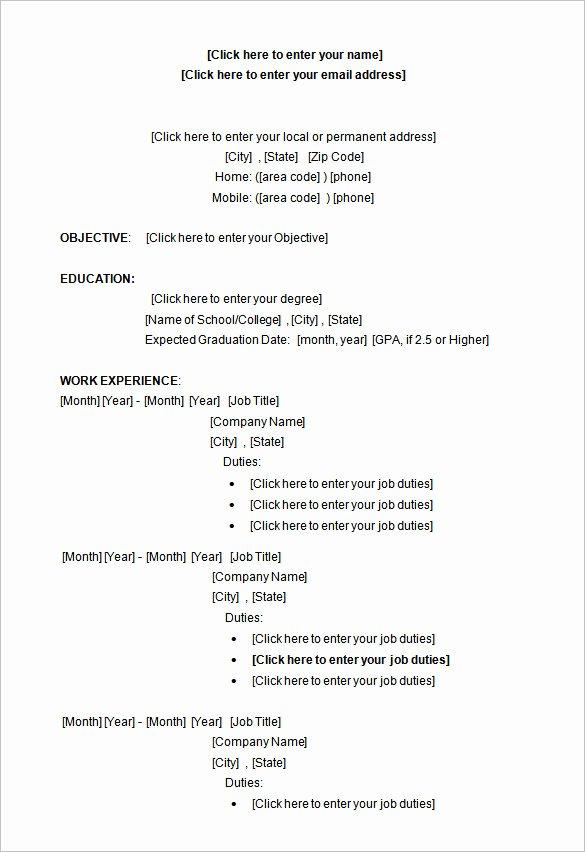 Undergraduate Resume Template Word Inspirational 34 Microsoft Resume Templates Doc Pdf