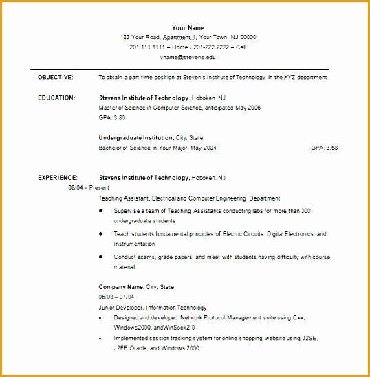 Undergraduate Resume Template Word Lovely 8 Undergraduate Students Resume Sample