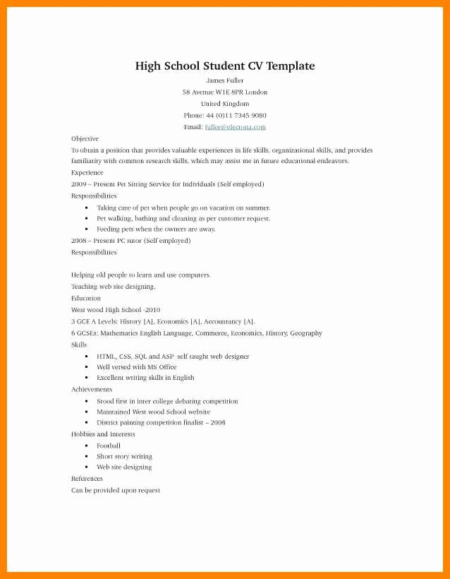 Undergraduate Resume Template Word Luxury 16 High School Student Resume Template Microsoft Word