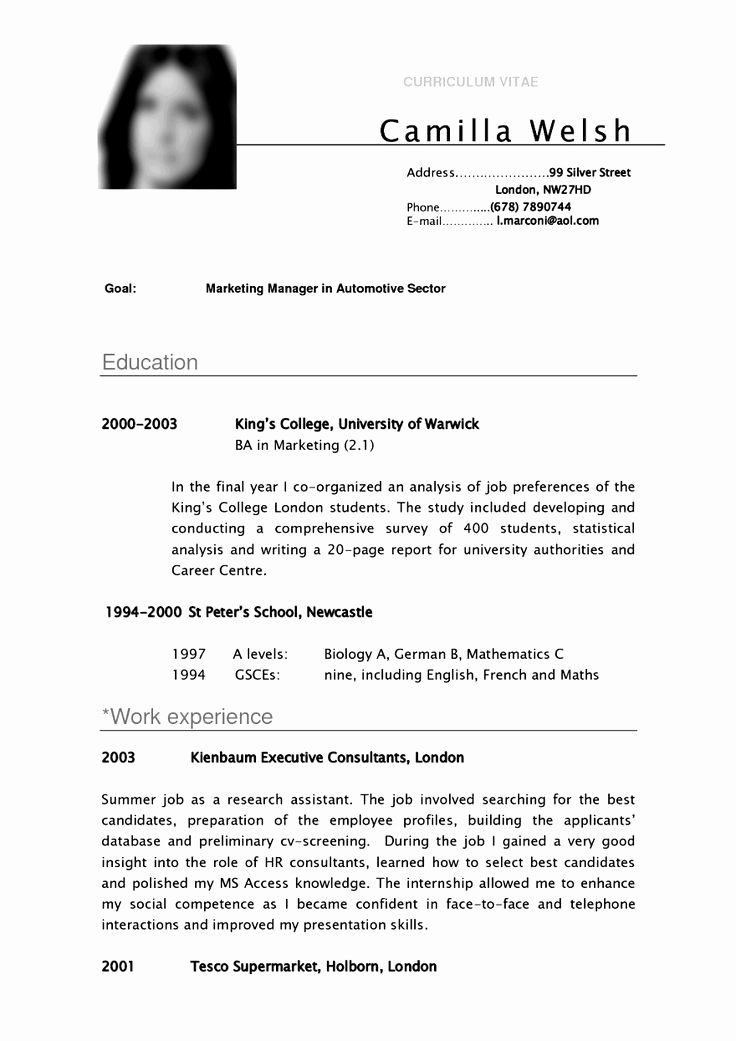 Undergraduate Resume Template Word Luxury Cv Template University Student