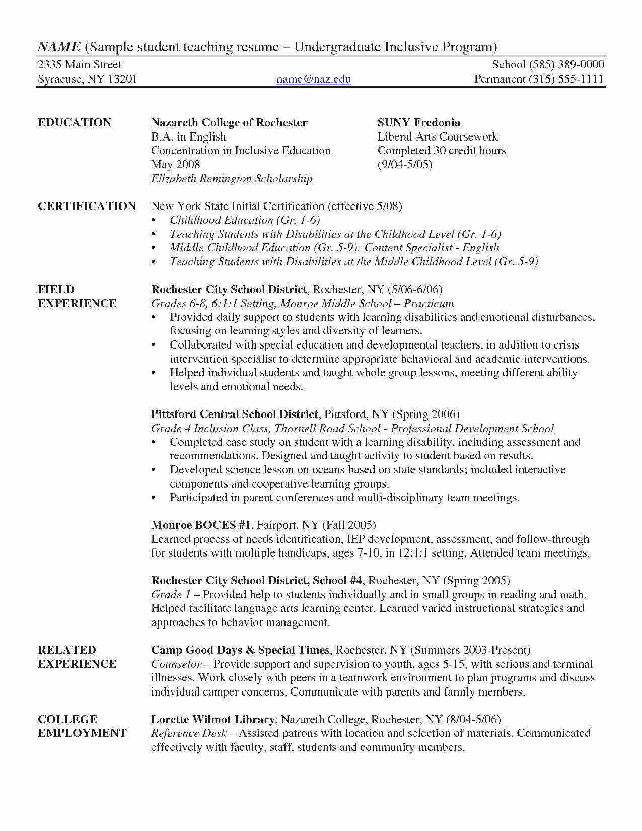 Undergraduate Resume Template Word New Resume Template Undergraduate Resume Template Word
