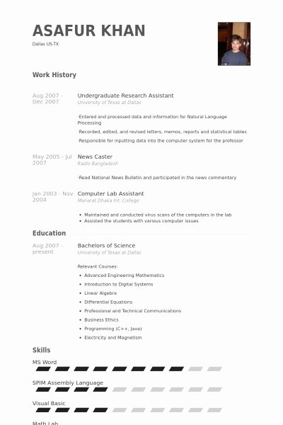 Undergraduate Resume Template Word Unique Undergraduate Research Resume Best Resume Collection