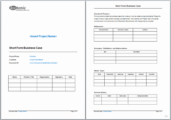 Use Case Documentation Template Elegant Short form Business Case Template – Project Documentation