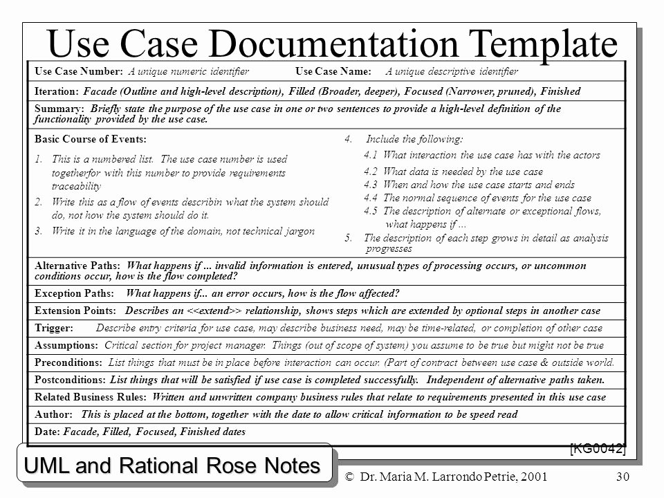 Use Case Documentation Template Lovely Uml and Rational Rose Notes Dr Maria M Larrondo Petrie