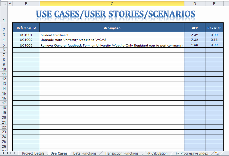 Use Case Testing Template Fresh Function Point Analysis